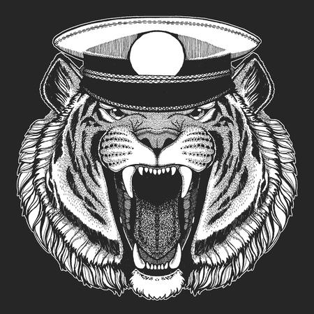 Wild tiger Hand drawn image for tattoo, emblem, badge, logo, patch, t-shirt Standard-Bild - 103321251