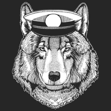 Wolf Dog Hand drawn image for tattoo, emblem, badge, logo, patch Standard-Bild - 115201855