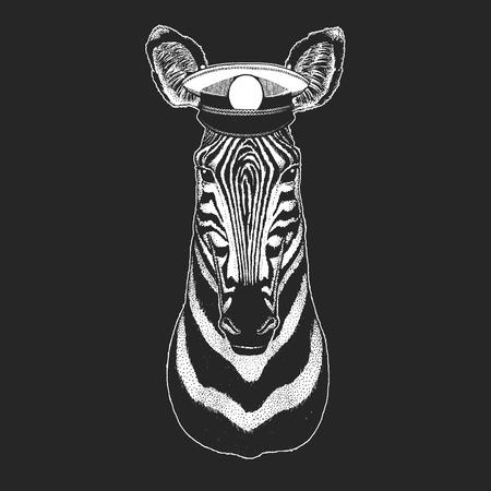 Zebra Horse Hand drawn illustration for tattoo, emblem, badge, logo, patch Standard-Bild - 103321504