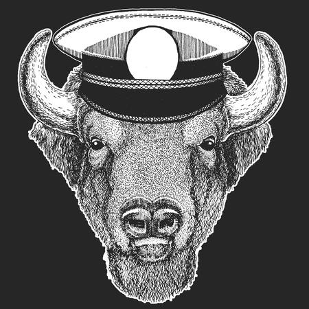 Buffalo, bison,ox, bull Vector print for children. Capitan, pirate animal. Brave sailor. Design for kindergarten, school kids clothing, t-shirts. Standard-Bild - 103667323