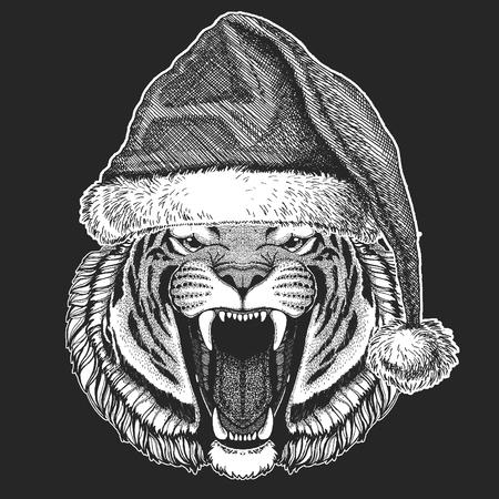 Tiger Christmas, new year celebration. Santa Claus winter hat. Xmas headdress. Illustration