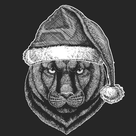 Panther, Puma, Cougar, Wild cat Christmas, new year celebration. Santa Claus winter hat. Xmas headdress. Illustration