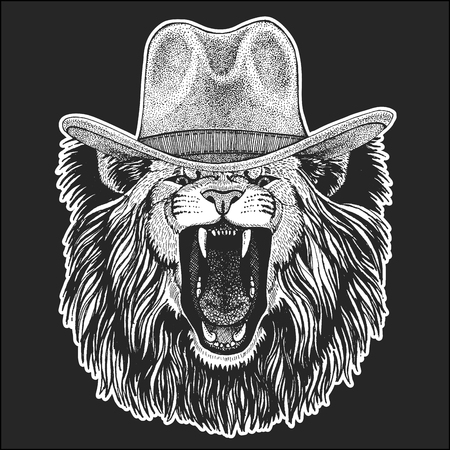 Lion. Wild west. Traditional american cowboy hat. Texas rodeo. Иллюстрация