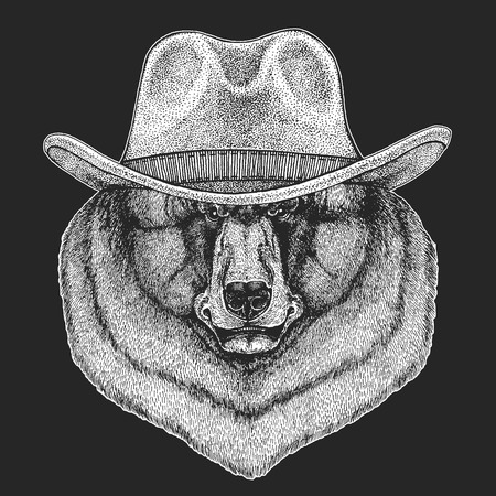 Bear. Wild west. Traditional american cowboy hat. Texas rodeo.