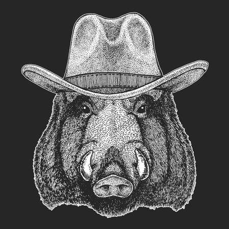 Aper, boar, hog, wild boar. Wild west. Traditional american cowboy hat. Texas rodeo.