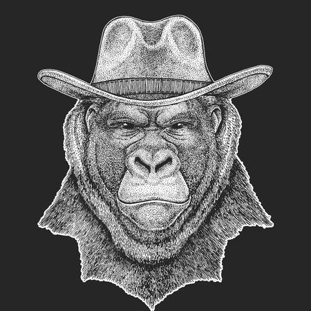 Gorilla, monkey, ape. Wild west. Traditional american cowboy hat.