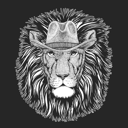 Lion. Wild west. Traditional american cowboy hat. Texas rodeo. Illustration