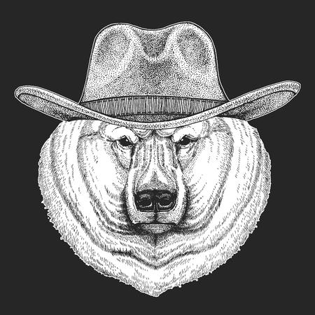 Bear, polar bear. Wild west. Traditional american cowboy hat. Texas rodeo.