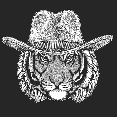 Tiger Wild west. Traditional american cowboy hat. Texas rodeo. Print for children, kids t-shirt.