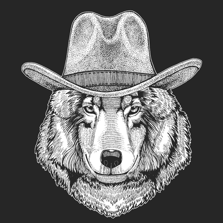 Wolf, Dog. Wild west. Traditional american cowboy hat. Texas rodeo. Print for children, kids t-shirt.