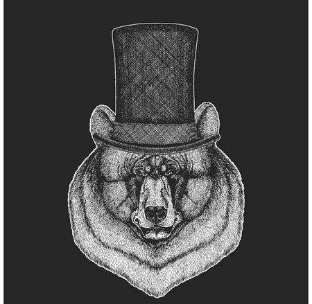 Bear Top hat, cylinder. Hipster animal, gentleman. Classic headdress. Print for children t-shirt, kids clothing. Stok Fotoğraf - 103668254
