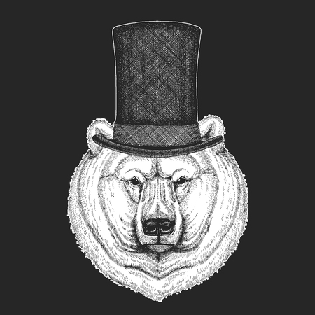 Top hat, cylinder. Hipster animal, gentleman. Classic headdress. Print for children t-shirt, kids clothing. Ilustrace
