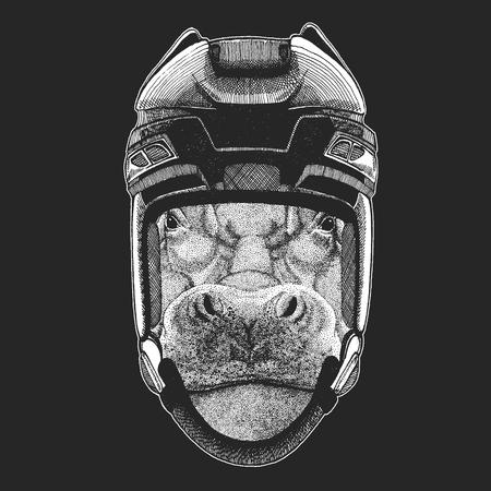Hippo, Hippopotamus, behemoth, river-horse Wild animal wearing hockey helmet. Print for t-shirt design.