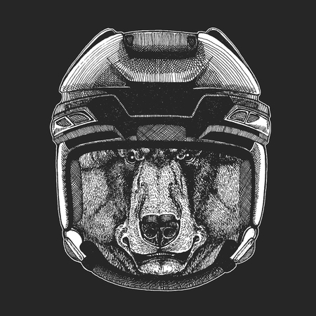 Wild animal wearing hockey helmet. Print for t-shirt designs  イラスト・ベクター素材