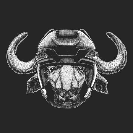 Buffalo, bull, ox Wild animal wearing hockey helmet. Print for t-shirt design.