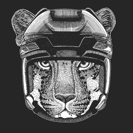 Wild animal wearing hockey helmet. Print for t-shirt design. Standard-Bild - 104266457