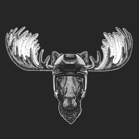 Moose, elk Wild animal wearing hockey helmet. Print for t-shirt design.