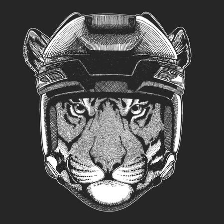 Wild tiger Wild animal wearing hockey helmet. Print for t-shirt design. 일러스트