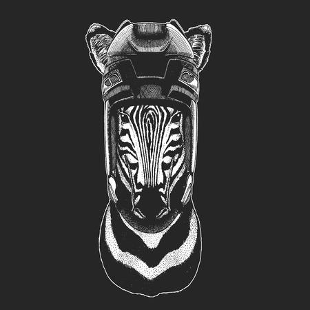 Zebra Horse Wild animal wearing hockey helmet. Print for t-shirt design.