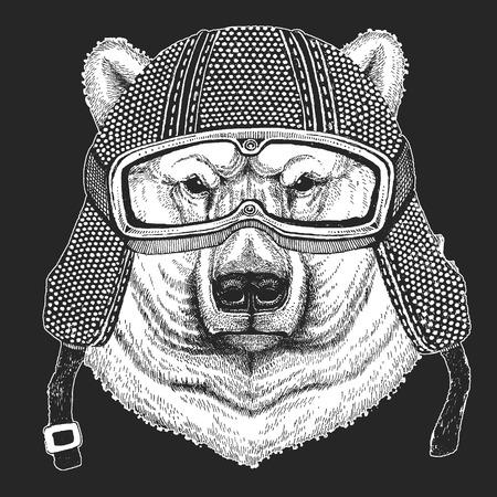 Big polar bear Hand drawn illustration for tattoo, t-shirt, emblem, badge, logo, patch Illusztráció
