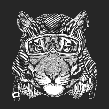 Tiger. Vintage motorcycle hemlet. Retro style illustration with animal biker for children, kids clothing, t-shirts. Fashion print with cool character. Speed and freedom. Illusztráció