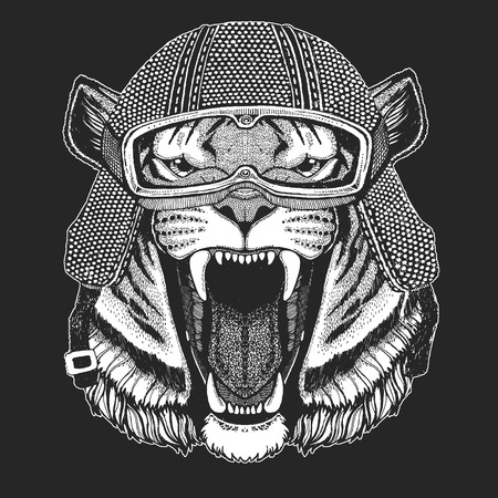 Tiger. Vintage motorcycle hemlet. Retro style illustration with animal biker for children, kids clothing, t-shirts. Fashion print with cool character. Speed and freedom. Ilustração
