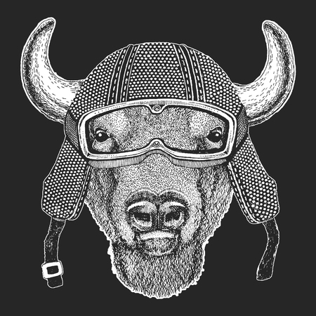 Buffalo, bison,ox, bull. Vintage motorcycle hemlet. Retro style illustration with animal biker for children, kids clothing, t-shirts. Fashion print with cool character. Speed and freedom.