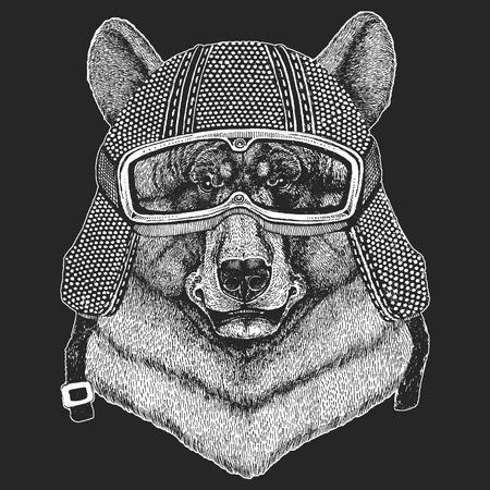Black bear Hand drawn illustration for tattoo, t-shirt, emblem, badge, logo, patch Ilustração