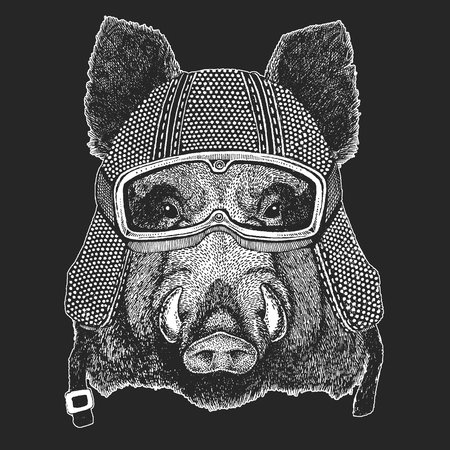 Aper, boar, hog, wild boar. Vintage motorcycle hemlet. Retro style illustration with animal biker for children, kids clothing, t-shirts. Fashion print with cool character. Speed and freedom.