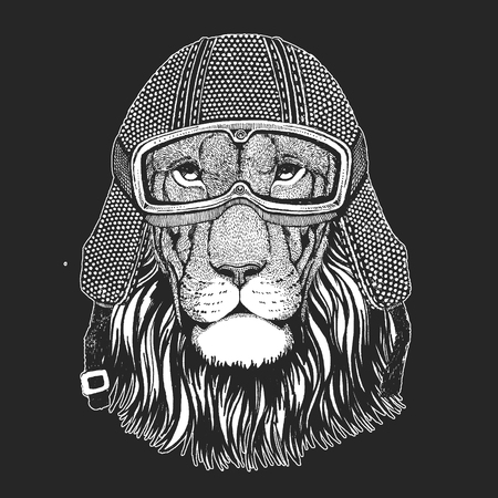 Lion. Vintage motorcycle hemlet. Retro style illustration with animal biker for children, kids clothing, t-shirts. Fashion print with cool character. Speed and freedom.