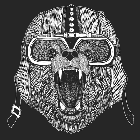 Brown bear. Vintage motorcycle hemlet. Retro style illustration with animal biker for children, kids clothing, t-shirts. Fashion print with cool character. Speed and freedom.
