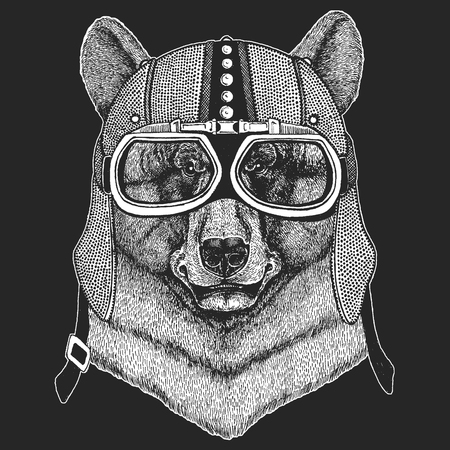 Bear. Vintage motorcycle hemlet. Retro style illustration with animal biker for children, kids clothing, t-shirts. Fashion print with cool character. Speed and freedom.
