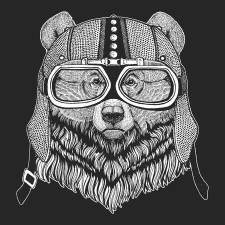 Grizzly bear. Vintage motorcycle hemlet. Retro style illustration with animal biker for children, kids clothing, t-shirts. Fashion print with cool character. Speed and freedom.