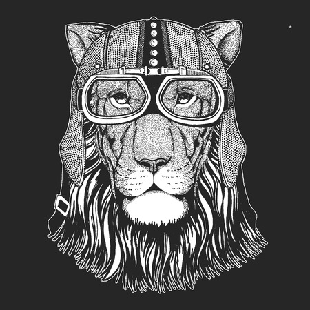 Lion. Wild cat. Vintage motorcycle hemlet. Retro style illustration with animal biker for children, kids clothing, t-shirts. Fashion print with cool character. Speed and freedom.