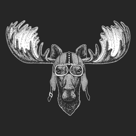 Moose, elk Vintage motorcycle hemlet. Retro style illustration with animal biker for children, kids clothing, t-shirts. Fashion print with cool character. Speed and freedom. Ilustração