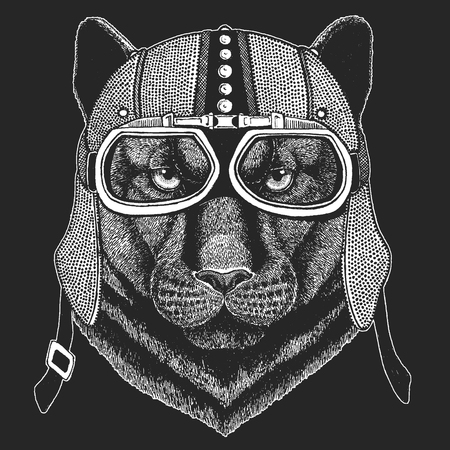 Panther, puma, cougar, wild cat, jaguar. Vintage motorcycle hemlet. Retro style illustration with animal biker for children, kids clothing, t-shirts. Fashion print with cool character. Speed and freed 일러스트