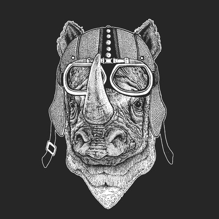 Rhinoceros, rhino Vintage motorcycle hemlet. Retro style illustration with animal biker for children, kids clothing, t-shirts. Fashion print with cool character. Speed and freedom. Illusztráció