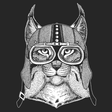 Wild cat Lynx Bobcat Trot Vintage motorcycle hemlet. Retro style illustration with animal biker for children, kids clothing, t-shirts. Fashion print with cool character. Speed and freedom.