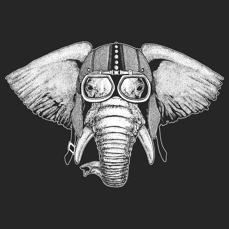 Elephant Vintage motorcycle hemlet. Retro style illustration with animal biker for children, kids clothing, t-shirts. Fashion print with cool character. Speed and freedom.