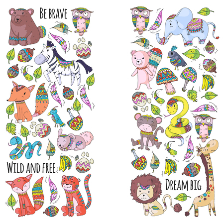 Pattern with cute forest and jungle animals. Fox, tiger, lion, zebra, bear, bird, parrot, snake, squirrel, elephant, monkey, owl. Tribal boho wild and free icons for little kindergarten children