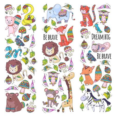 Patrón con lindos animales del bosque y la selva. Zorro, tigre, león, cebra, oso, pájaro, loro, serpiente, ardilla, elefante, mono, búho. Iconos tribales boho salvajes y gratuitos para niños pequeños de jardín de infantes Ilustración de vector