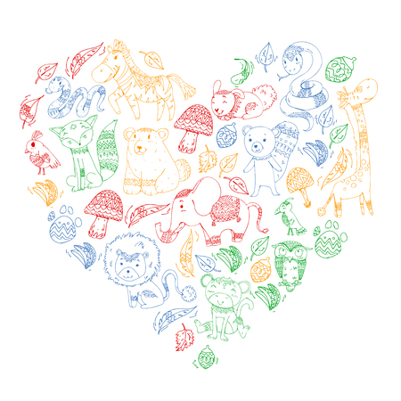 Pattern with cute forest and jungle animals. Fox, tiger, lion, zebra, bear, bird, parrot, snake, squirrel, elephant, monkey, owl. Tribal boho wild and free icons for little kindergarten children Foto de archivo - 104840944