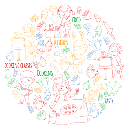 Cooking class banners, courses for little kindergarten children. Kitchenware, kitchen items, utensil. Vector pattern with doodle icon.