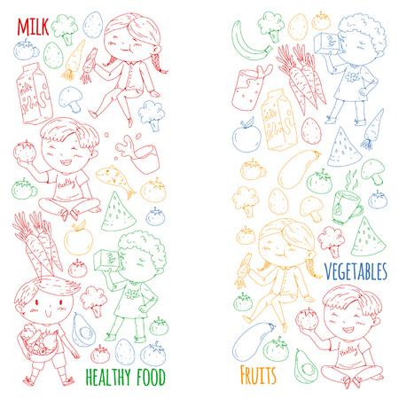 Healthy food for children. Kindergarten, school kids eating watermelon, eggplant, fish, tomato, avocado, milk carrot mushrooms Fruits and vegetables Vettoriali
