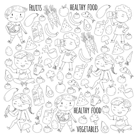 Healthy food for children. Kindergarten, school kids eating watermelon, eggplant, fish, tomato, avocado, milk carrot mushrooms Fruits and vegetables Stock Photo