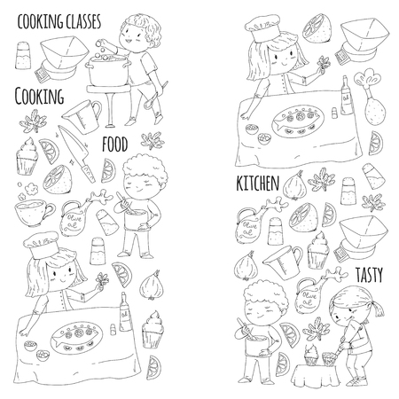 Coloring page for book. Kitchenware. Cooking class, courses for children and parents Stok Fotoğraf