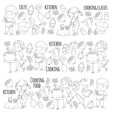 Coloring page for book. Kitchenware. Cooking class, courses for children and parents. Vector pattern. Stok Fotoğraf