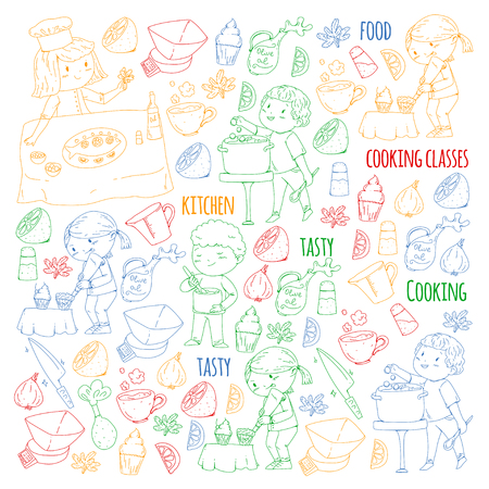 Cooking class banners, courses for little kindergarten children. Kitchenware, kitchen items, utensil. Vector pattern with doodle icons.