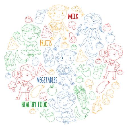 Healthy food for children. Kindergarten, school kids eating watermelon, eggplant, fish, tomato, avocado, milk carrot mushrooms Fruits and vegetables Illustration