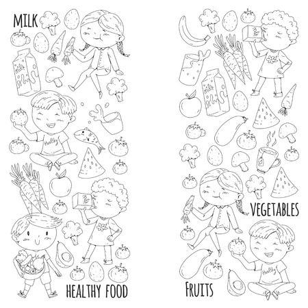 Healthy food for children. Kindergarten, school kids eating watermelon, eggplant, fish, tomato, avocado, milk carrot mushrooms Fruits and vegetables Illustration